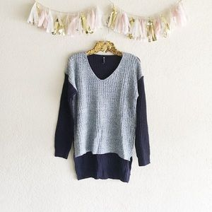 Multi-Blue Knit High Low Sweater • NWOT